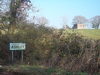 Ashley, New Forest - Pillbox (right) visible in the fields of Lower Ashley