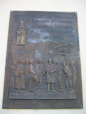 Slovaks of Romania - Plaque marking the 1803 settlement of Slovaks in Nădlac, Arad County