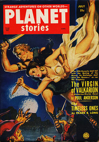 """Poul Anderson bibliography - Later in 1951, Anderson's novella """"The Virgin of Valkarion"""" also took the cover of Planet Stories"""