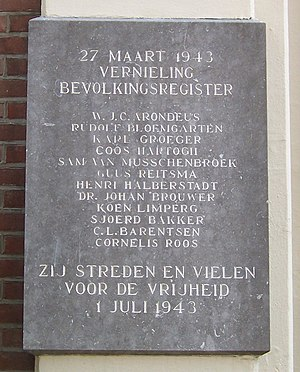 Willem Arondeus - Memorial stone in Amsterdam