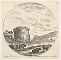 Plate 13- ruins of an ancient temple in the background, a herd of cows in the foreground, a round composition, from 'Roman landscapes and ruins' (Paysages et ruines de Rome) MET DP828075.jpg