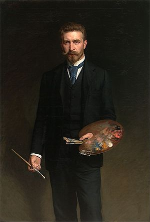 Kazimierz Pochwalski - Self-portrait with Palette (1895)