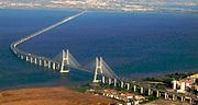 Vasco da Gama Bridge, over the River Tagus, is the longest bridge in Europe.
