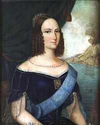 A half-length painted portrait of a young woman with light brown hair, small mouth, petite nose, very small waist, and large, widely spaced eyes. In the background is a drawn drape revealing a bay with an erupting volcano behind.
