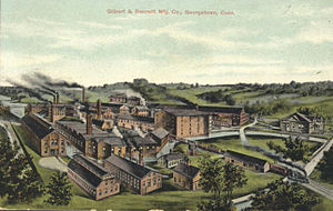 Danbury and Norwalk Railroad - The Gilbert and Bennett Wire Company in Georgetown, from a postcard printed in the early 1900s