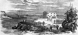 Prästö, Åland - 19th century scetch of the Prästötornet surrendering to the Anglo-French troops