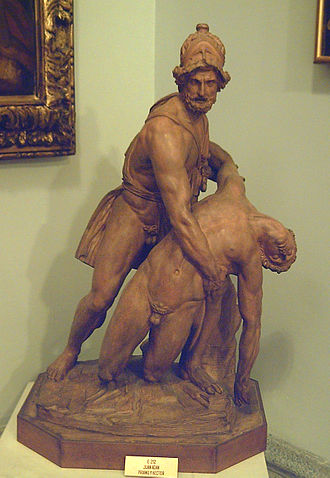 Pasquino Group - Terracotta reduction by Juan Adán Morlán, as Priam supporting the body of Hector (Royal Academy of Fine Arts of San Fernando, Madrid)