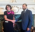 Prakash Javadekar meeting the Lieutenant Governor of British Columbia, Ms. Janet Austin and explains the significant educational reforms currently underway in India, in Victoria, Canada.JPG