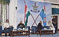 """Pranab Mukherjee, the Vice President, Shri M. Hamid Ansari and the Prime Minister, Shri Narendra Modi, at the """"At Home"""" Function hosted by the Chief of the Air Staff, Air Chief Marshal Arup Raha.jpg"""