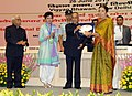 Pranab Mukherjee presenting the National Award for outstanding Services in the field of Prevention of Alcoholism and Substance (Drug) Abuse-2013 to the T.T. Ranganathan Clinical Research Foundation (TTK Hospital), Chennai.jpg