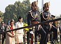 Pratibha Devisingh Patil and the Chief Guest of Republic Day the Prime Minister of the Kingdom of Thailand, Ms. Yingluck Shinawatra, arrive at the Salami Manch on the occasion of the 63rd Republic day celebrations.jpg