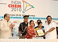 Pratibha Devisingh Patil receiving a hand book on India Chem-2010 from the Union Minister for Chemicals & Fertilizers.jpg