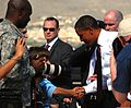 President Barack Obama shakes hands with a child at Fort Bliss, Texas, Aug. 31, 2010 100831-A-RD562-476.jpg