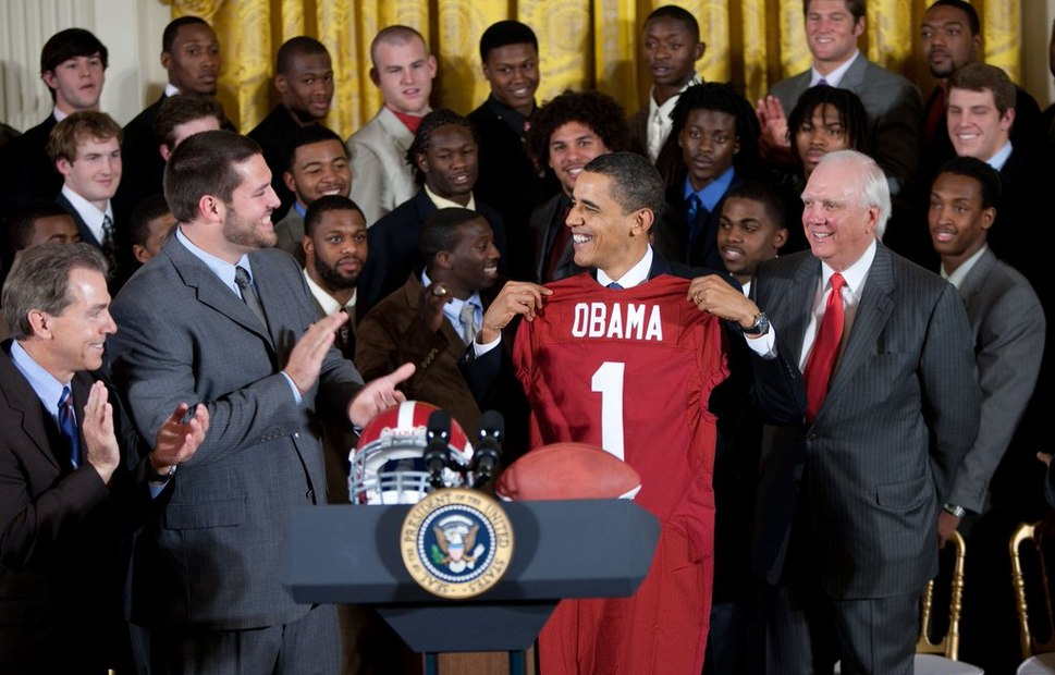 President Obama and the BCS National Champion Alabama Crimson Tide