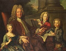 Presumed painting showing the Duke of Maine with his two surviving sons and only surviving daughter by Jean-Baptiste van Loo.jpg