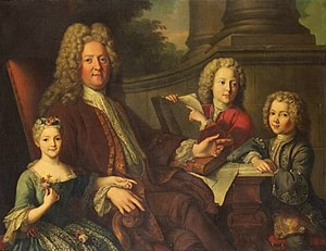 Louise Françoise de Bourbon, Mademoiselle du Maine - Mademoiselle du Maine with her father and brothers by Jean-Baptiste van Loo