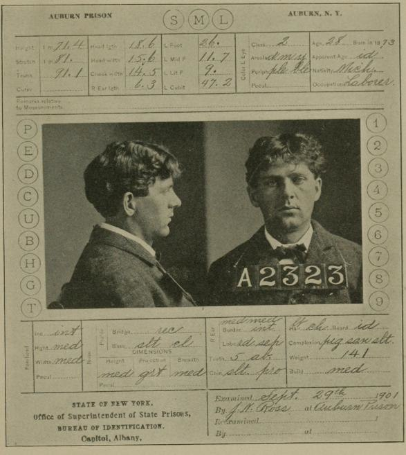 Prison card of Leon Czolgosz