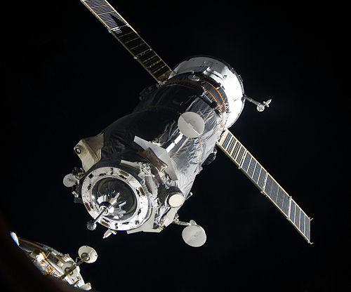 The free-flying Progress in the process of docking to the ISS