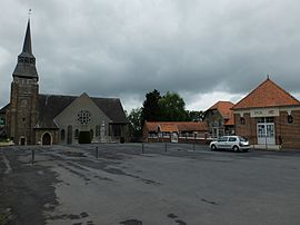 The town hall and church of Pronville