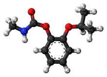 Ball-and-stick model of the propoxur molecule