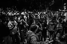 Protestors prepare to fight back against tear gas attacks in this picture from 5 June 2013.