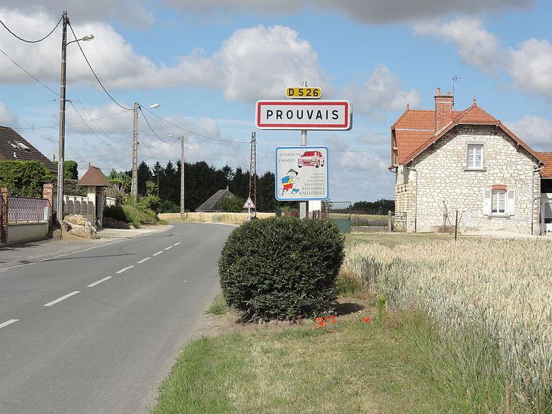 Prouvais (Aisne) city limit sign