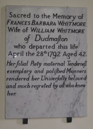 William Wolryche-Whitmore - Memorial to Frances Witmore, née Lister, Wolryche-Whitmore's mother.