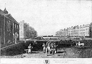 Bloomsbury - Queen Square, Bloomsbury in 1787. The fields to the north reach as far as Hampstead.