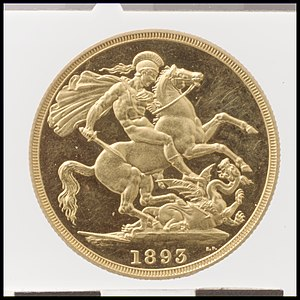 Double sovereign - Image: Queen Victoria proof double sovereign MET DP100384