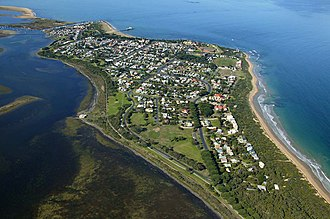 Queenscliff, Victoria - Looking east over Queenscliff to Sand Island. On the left is Swan Bay and the right is Port Phillip Bay.