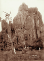 Queensland State Archives 2400 View of Tower Rock a buckboard and three men at the site of Chillagoe Caves 1897.png