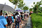 Queue of Visitors waiting Shuttle Buses to Gangshan Air Force Base 20170812a.jpg