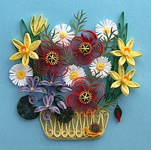 A Quilled Basket Of Flowers