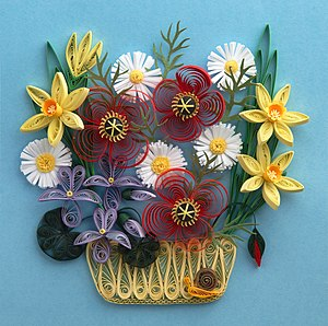 Paper craft - A quilled basket of flowers