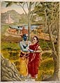 Rādhā and Krishna embrace in the countryside. Chro Wellcome V0045065.jpg