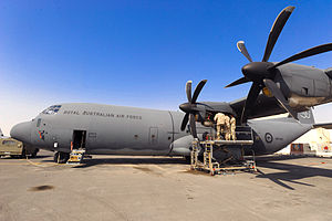 Lockheed C-130 Hercules in Australian service - RAAF personnel undertaking preventive maintenance on a C-130J in the Middle East during January 2009
