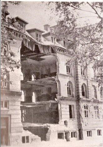Aarhus Air Raid - Damaged barracks near Aarhus University residence halls, bombed on 31 October 1944