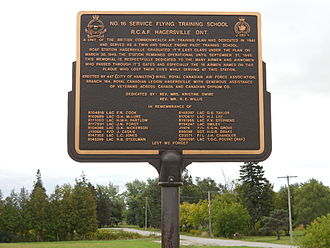 Hagersville, Ontario - Historical plaque at the site of No. 16 Service Flying Training School