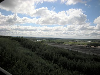 Central Landfill - View from the top of Central Landfill, looking Southeast toward Narragansett Bay