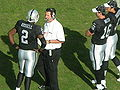 Raiders QBs in huddle at Falcons at Raiders 11-2-08.JPG
