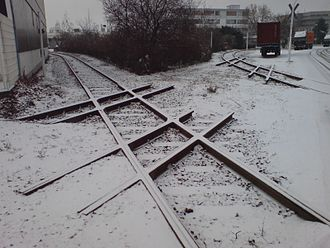 Level junction - Several diamond crossings (now obsolete after removal of one track direction) in the Port of Mainz, Germany