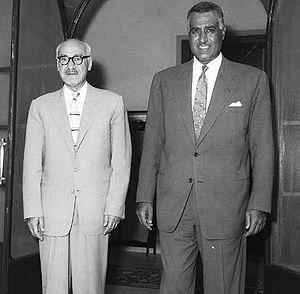Rashid Ali al-Gaylani - Al-Gaylani with Egyptian president Gamal Abdel Nasser in Cairo, August 1958