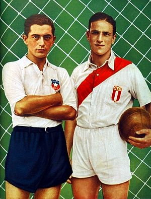 Peru national football team - Chile's Raúl Toro and Peru's Teodoro Fernández, opponents in the 1937 South American Championship