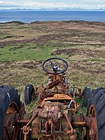 Ready, steady, go!, 5 km from Trumpan, Highland, Great Britain. Or maybe not... This long-abandoned Zetor tractor close to Waternish Point looks eager to set off down the hill, but it will not be going anywhere. The tractor is facing the Little Minch, with the island of Harris on the horizon.