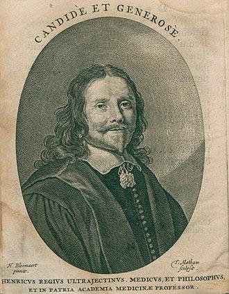 Henricus Regius - Henricus Regius portrayed in his Philosophia naturalis, 1661