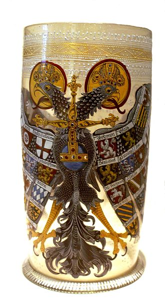 Imperial Eagle beaker - An example of a Reichsadlerhumpen on display at the Deutsches Historisches Museum