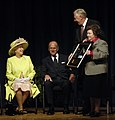 Rep. Hoyer and Sen. Mikulski present photo to Queen Elizabeth II and Prince Phillip, May 8, 2007.jpg