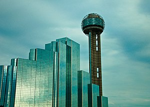 Reunion Tower - Reunion Tower rising over the Hyatt Regency Dallas.
