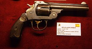 Smith & Wesson Model 3 - An Orbea Hermanos revolver at the Seville Military History Museum.