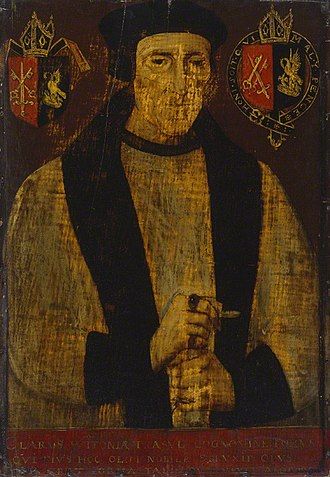 Richard Foxe - Richard Foxe), portrait after Johannes Corvus, late 16th century, National Portrait Gallery, London. At left are the arms of the See of Exeter impaling Foxe (Azure, a pelican in her piety or) at right are the arms of the See of Winchester impaling Foxe, the whole circumscribed by the Garter